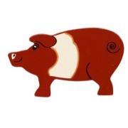 Lanka Kade Wooden Painted Animal - Pig - Brown