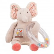Moulin Roty Les Papoums Elephant bead rattle